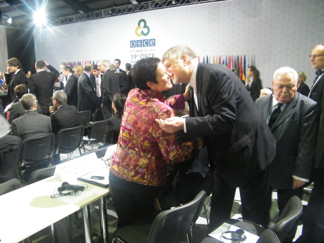 United Nations and NATO Commissioners greet each other. Photo:Martha Gberevbie
