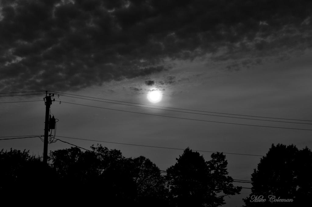 B&W Powerline Sunset
