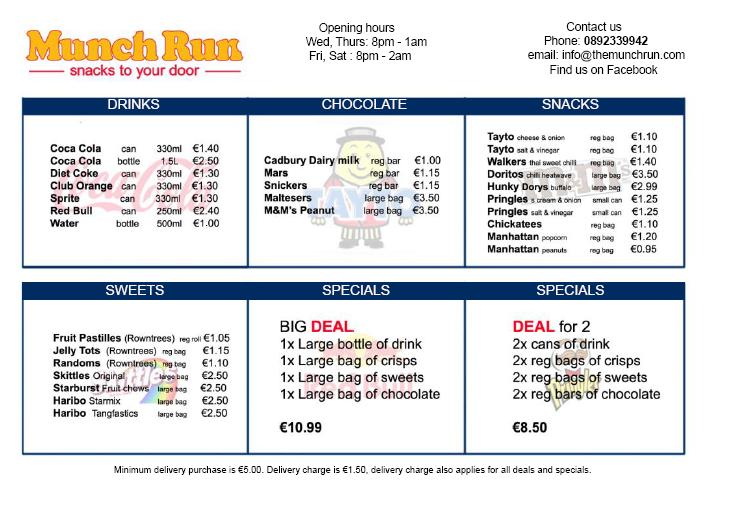 Munch Run's current menu