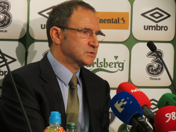 Martin O'Neill addresses reporters at the FAI Headquarters in Abbotstown. Photo: James Hopper