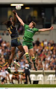David Moran, Ireland, in action against Nic Naitanui, Australia. Virgin Australia International Rules Series, Australia v Ireland. Paterson's Stadium, Perth, Australia. Picture credit: Ray McManus / SPORTSFILE