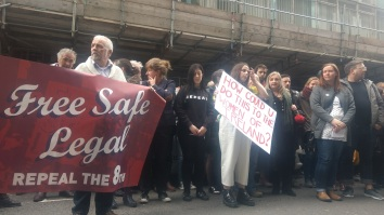 Demonstrators outside of the Department of Health on April 20, image by Hannah Lemass